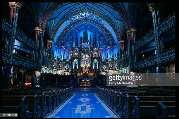 notre dame basilica nave and altar - notre dame de montreal stock photos and pictures