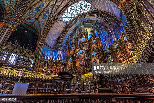 notre dame basilica of montreal indoor - notre dame de montreal stock photos and pictures