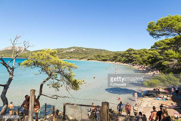 plage de notre dame - porquerolles - french riviera - pjphoto69 stock pictures, royalty-free photos & images