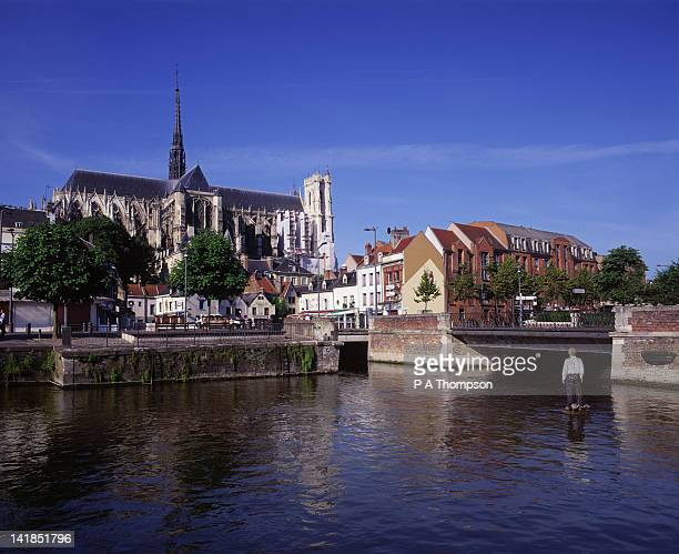 Notre Dame Cathedral and River Somme, Amiens, Somme, Picardy, France