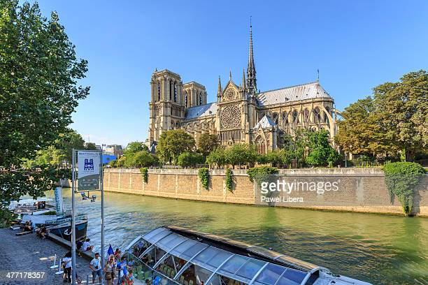 Notre Dame Cathedral and Seine Riverbank in Paris France