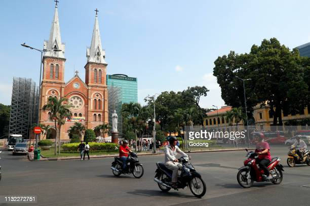 Notre Dame Cathedral and Virgin Mary statue District 1 Ho Chi Minh City Vietnam