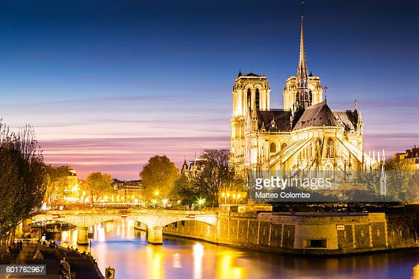 notre dame cathedral at dusk, paris, france - パリ ノートルダム大聖堂 ストックフォトと画像