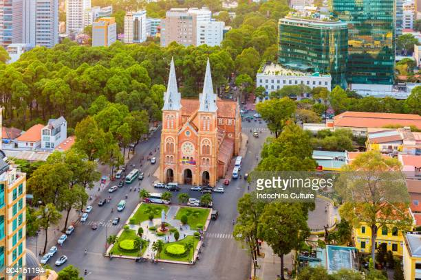 notre dame cathedral in ho chi minh city, vietnam - ho chi minh city stock pictures, royalty-free photos & images