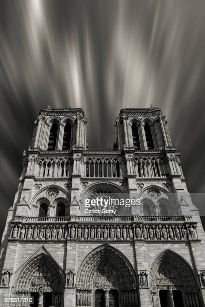 notre dame cathedral in monochrome, notre dame cathedral, paris, france - notre dame de paris photos et images de collection