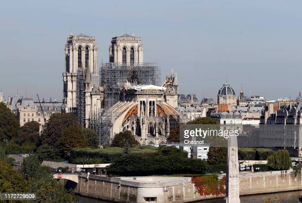 Notre Dame Cathedral is seen almost five months after the massive fire that ravaged the world-famous monument on September 06, 2019 in Paris, France....