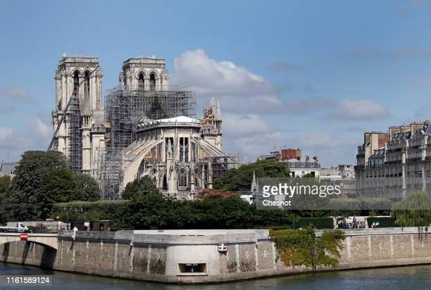 Notre Dame Cathedral is seen almost three months after the massive fire that ravaged the world-famous monument on July 12, 2019 in Paris, France....