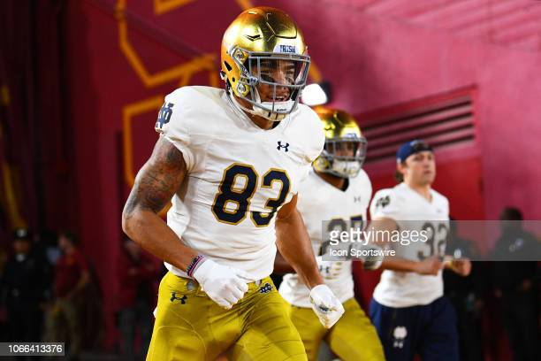 Notre Dame Chase Claypool runs on the field before a college football game between the Notre Dame Fighting Irish and the USC Trojans on November 24...