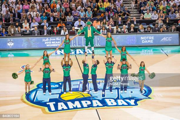 Notre Dame cheerleaders form a pyramid at the National Championship final The University of Connecticut Huskies defeated the Fighting Irish of Notre...
