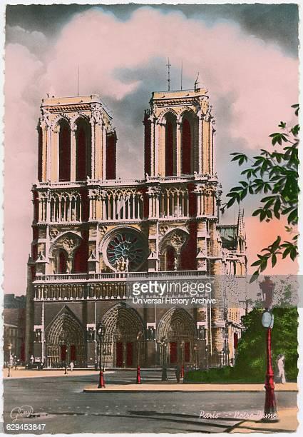 Notre Dame Church, Paris, France, Hand-Colored Postcard, circa 1930.