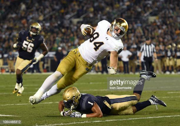 Notre Dame Cole Kmet is upended by Navy Jacob Springer during a college football game between the Navy Midshipmen and the Notre Dame Fighting Irish...