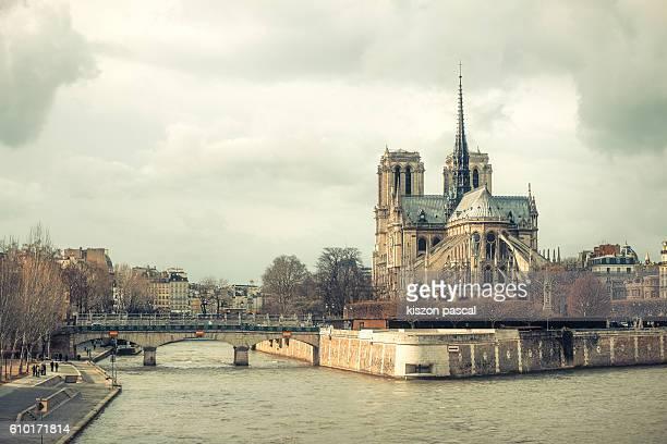 notre dame day time , paris , france - kathedraal stockfoto's en -beelden