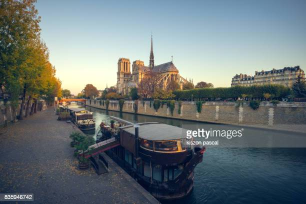 Notre Dame de Paris and Seine river in day ( Paris , France )