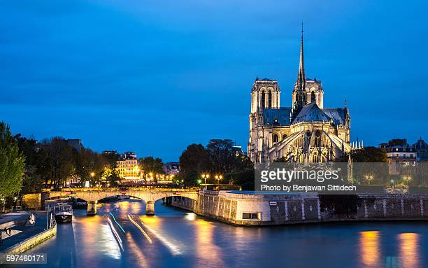 Notre dame de Paris and Seine river
