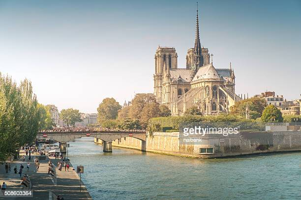notre dame de paris at sunset - notre dame de paris stock photos and pictures