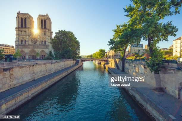 notre dame de paris in france during morning , - fluss seine stock-fotos und bilder