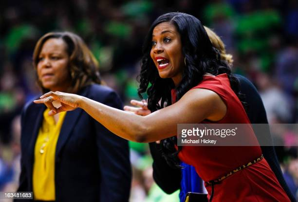 Notre Dame Fighting Irish assistant coach Niele Ivey seen on the sidelines during the game against the Connecticut Huskies at Purcel Pavilion on...
