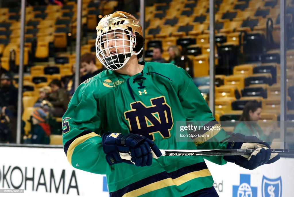Notre Dame Fighting Irish center Andrew Oglevie (15) skates during warm up before a Hockey East semifinal between the UMass Lowell River Hawks and the Notre Dame Fighting Irish on March 17, 2017 at TD Garden in Boston, Massachusetts. The River Hawks defeated the Fighting Irish 5-1.