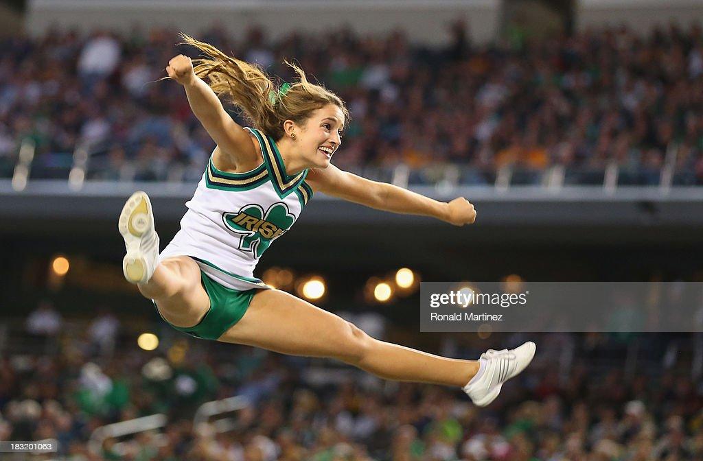 A Notre Dame Fighting Irish cheerleader at Cowboys Stadium on October 5, 2013 in Arlington, Texas.