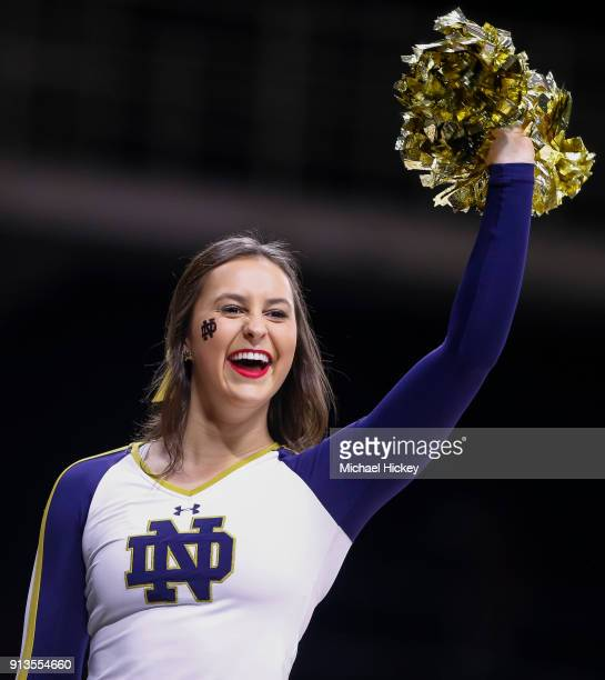 Notre Dame Fighting Irish cheerleader is seen during the game against the Virginia Tech Hokies at Purcell Pavilion on January 27 2018 in South Bend...