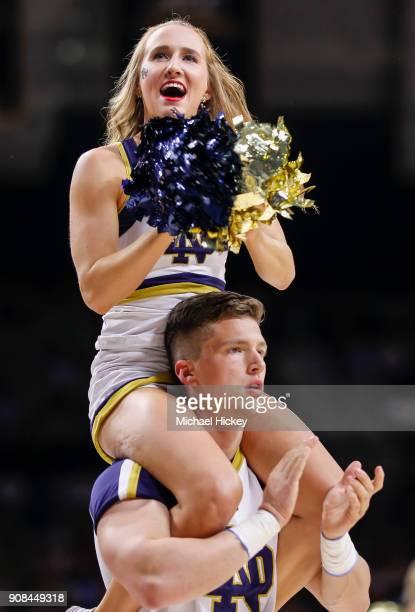 Notre Dame Fighting Irish cheerleader is seen during the game is seen during the game against the North Carolina Tar Heels at Purcell Pavilion on...