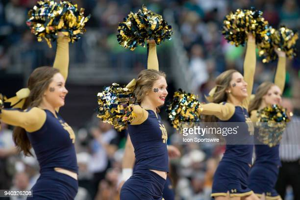 Notre Dame Fighting Irish cheerleaders perform in the Division I Women's Championship semifinal game between the Notre Dame Fighting Irish and the...