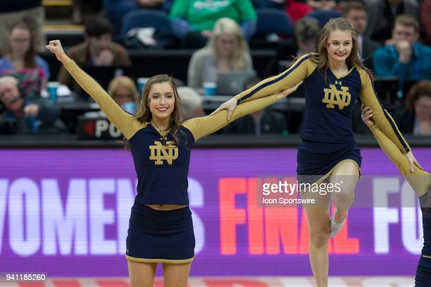 Notre Dame Fighting Irish cheerleaders perform in the National Championship game between the Mississippi State Lady Bulldogs and the Notre Dame...