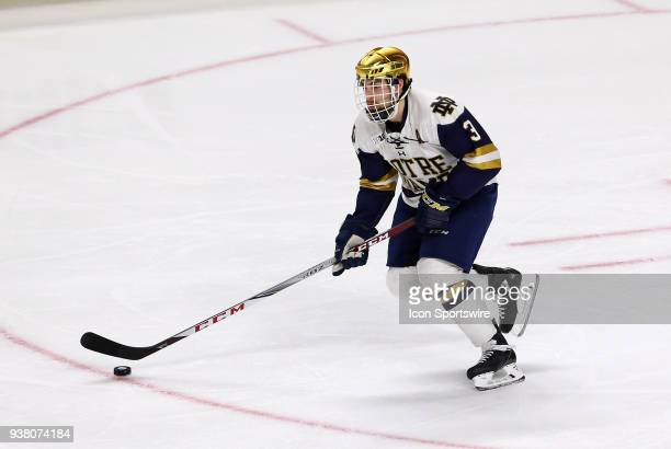 Notre Dame Fighting Irish defenseman Jordan Gross skates with the puck during a NCAA hockey game between Providence Friars and Notre Dame Fighting...