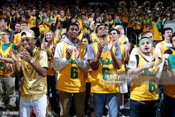 Notre Dame Fighting Irish fans get ready before a game against the Louisville Cardinals at Purcell Pavilion on January 16 2018 in South Bend Indiana