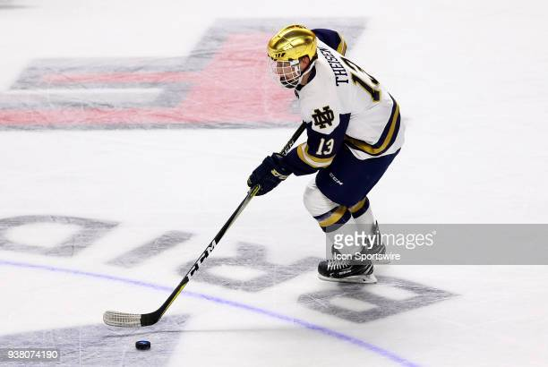 Notre Dame Fighting Irish forward Colin Theisen during a NCAA hockey game between Providence Friars and Notre Dame Fighting Irish on March 24 at...