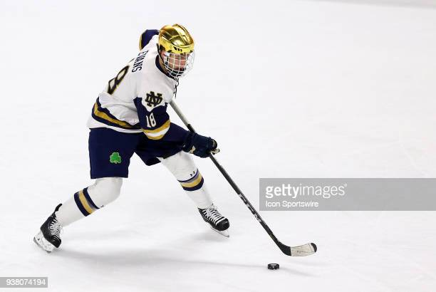 Notre Dame Fighting Irish forward Jake Evans with the puck during a NCAA hockey game between Providence Friars and Notre Dame Fighting Irish on March...