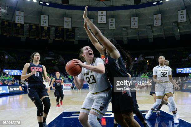 Notre Dame Fighting Irish forward Jessica Shepard is challenged by Cal State Northridge Matadors center Channon Fluker during the first round of the...