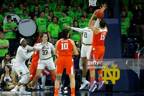 Notre Dame Fighting Irish forward Kristina Nelson gets a hand in the face of Clemson Tigers guard Jaia Alexander during the game between the Clemson...