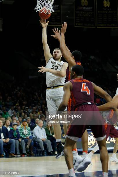 Notre Dame Fighting Irish forward Martinas Geben puts up his shot during the game between the Virginia Tech Hokies and Notre Dame Fighting Irish on...