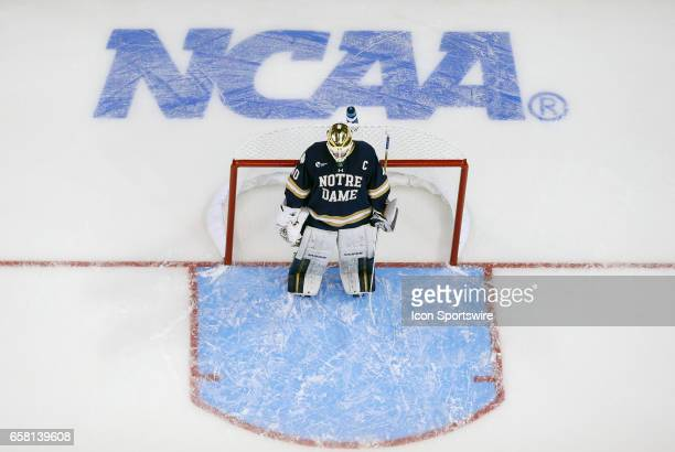 Notre Dame Fighting Irish goaltender Cal Petersen during the NCAA Northeast Regional final between the UMass Lowell River Hawks and the Notre Dame...