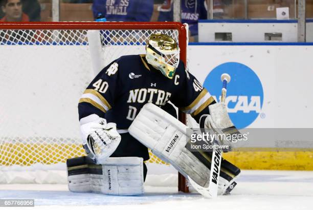 Notre Dame Fighting Irish goaltender Cal Petersen hugs the near post during an NCAA Northeast Regional semifinal between the University of Minnesota...