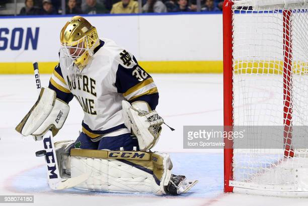 Notre Dame Fighting Irish goaltender Cale Morris makes a save during a NCAA hockey game between Providence Friars and Notre Dame Fighting Irish on...