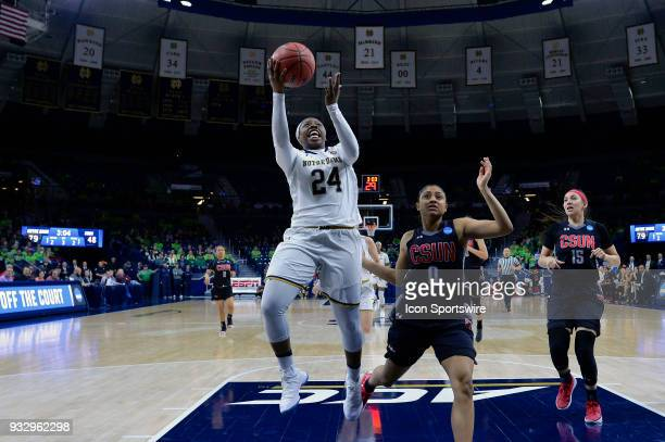 Notre Dame Fighting Irish guard Arike Ogunbowale shoots a layup on Cal State Northridge Matadors guard Terrin Sullivan during the first round of the...