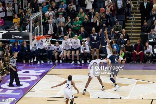 Notre Dame Fighting Irish guard Arike Ogunbowale shoots the game winning three point shot in the National Championship game between the Mississippi...