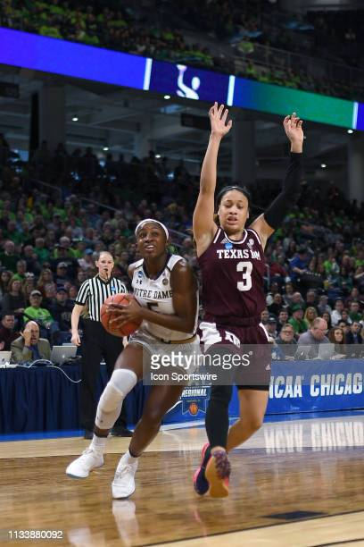 Notre Dame Fighting Irish guard Jackie Young battles with Texas AM Aggies guard Chennedy Carter in game action during the Women's NCAA Division I...