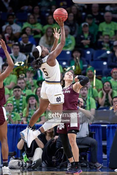 Notre Dame Fighting Irish guard Jackie Young battles with Texas AM Aggies guard Chennedy Carter for a layup in game action during the Women's NCAA...