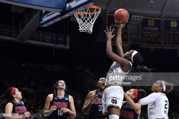 Notre Dame Fighting Irish guard Jackie Young shoots on Cal State Northridge Matadors center Channon Fluker during the first round of the Division I...