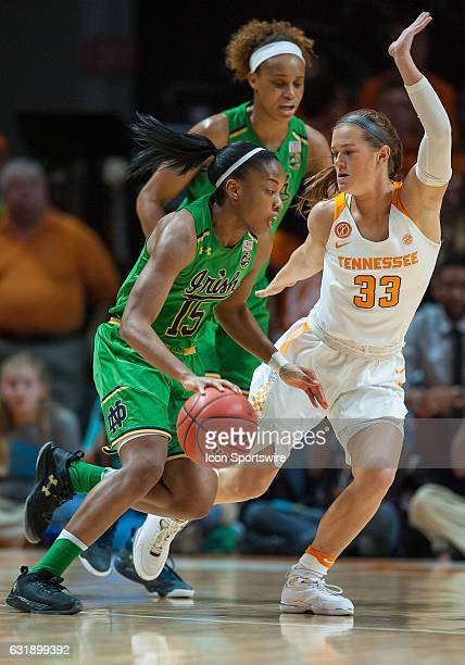 Notre Dame Fighting Irish guard Lindsay Allen is guarded by Tennessee Lady Volunteers guard Alexa Middleton during a game between the Notre Dame...