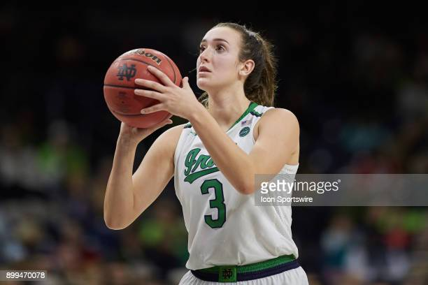 Notre Dame Fighting Irish guard Marina Mabrey shoots a free throw during the women's college basketball game between the Syracuse Orange and the...