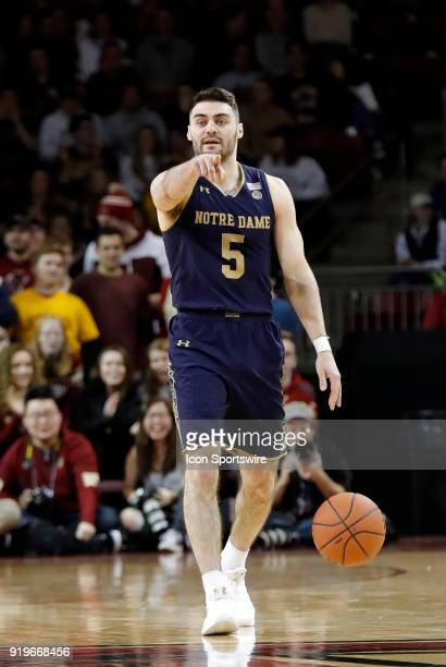 Notre Dame Fighting Irish guard Matt Farrell directs a teammate during an ACC game between the Boston College Eagles and the Notre Dame Fighting...