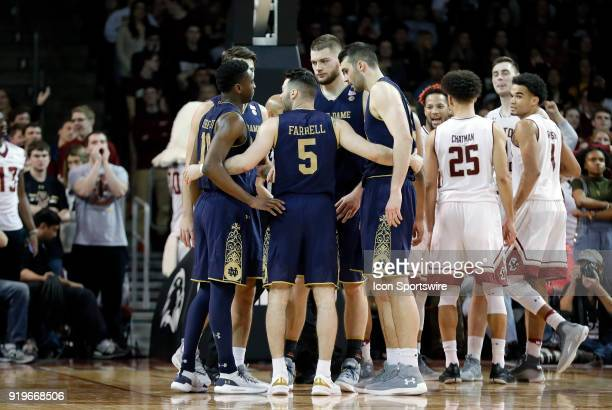 Notre Dame Fighting Irish guard Matt Farrell talks to his teammates during a time out during an ACC game between the Boston College Eagles and the...