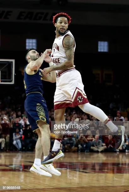 Notre Dame Fighting Irish guard Matt Farrell watches his shot as Boston College guard Ky Bowman checks for cover during an ACC game between the...