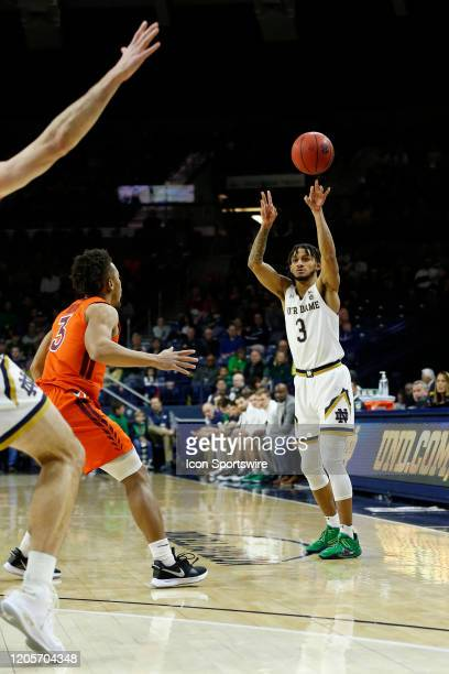 Notre Dame Fighting Irish guard Prentiss Hubb makes the pass inside during the men's college basketball game between the Virginia Tech Hokies and the...