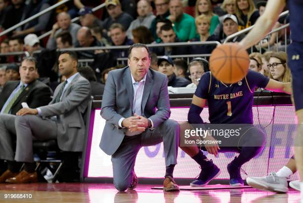 Notre Dame Fighting Irish head coach Mike Brey watches from the sideline during an ACC game between the Boston College Eagles and the Notre Dame...