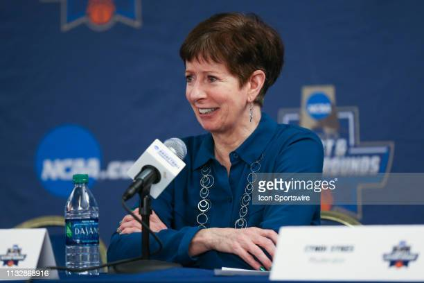 Notre Dame Fighting Irish head coach Muffet McGraw addresses the media during the postgame press conference following the NCAA Division I Women's...